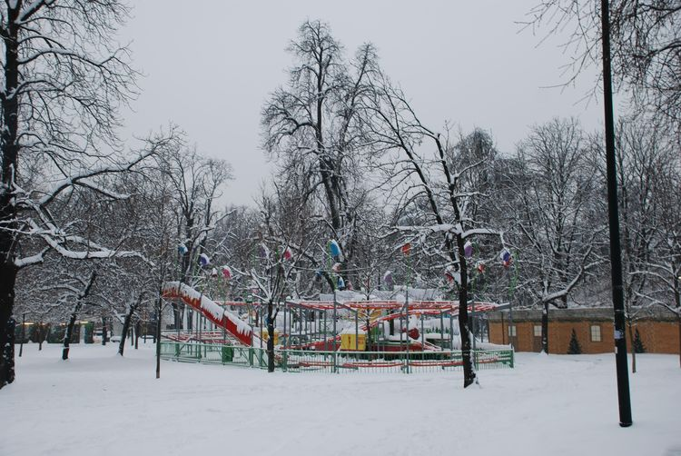 Merry go round in snow