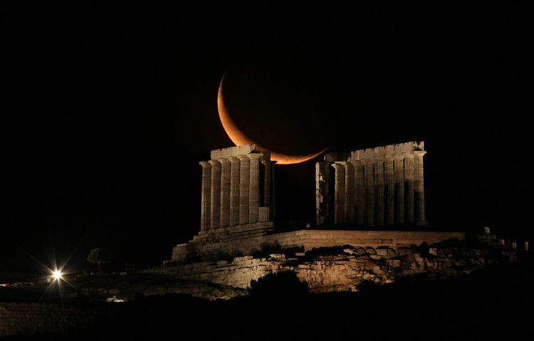 Waning Crescent Moon Over Sounion, Greece