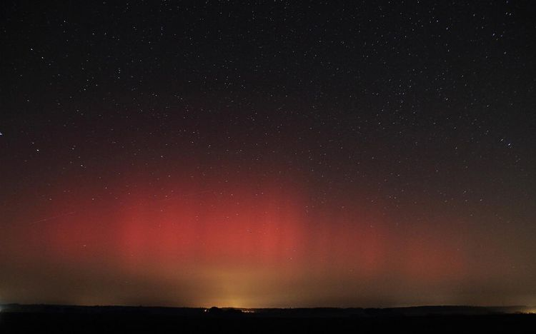 Red Aurora Over Southern Germany