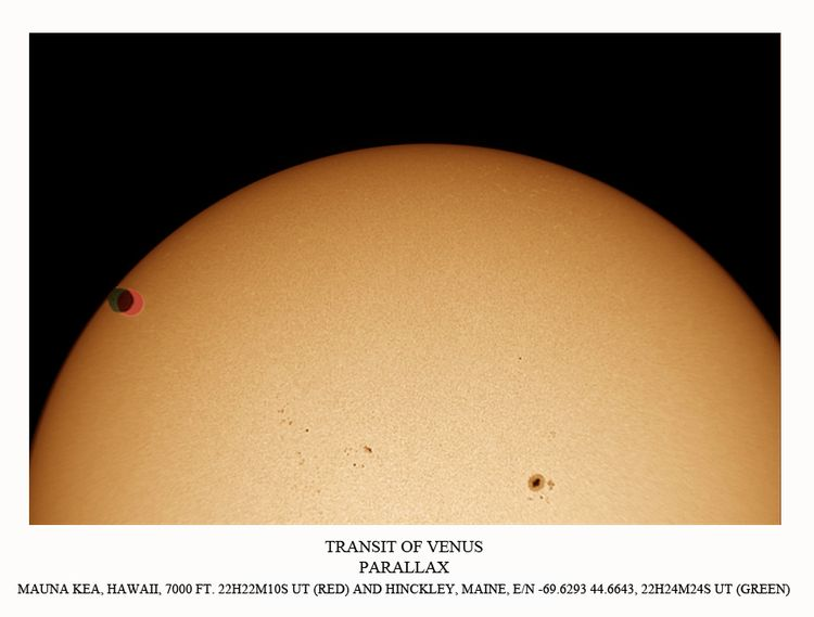 Transit of Venus Mauna Kea Hawaii and Maine