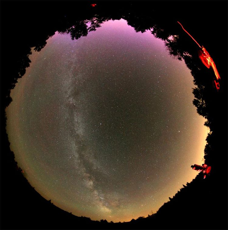 Red Aurora Above St. Pierre, Quebec FISHEYE