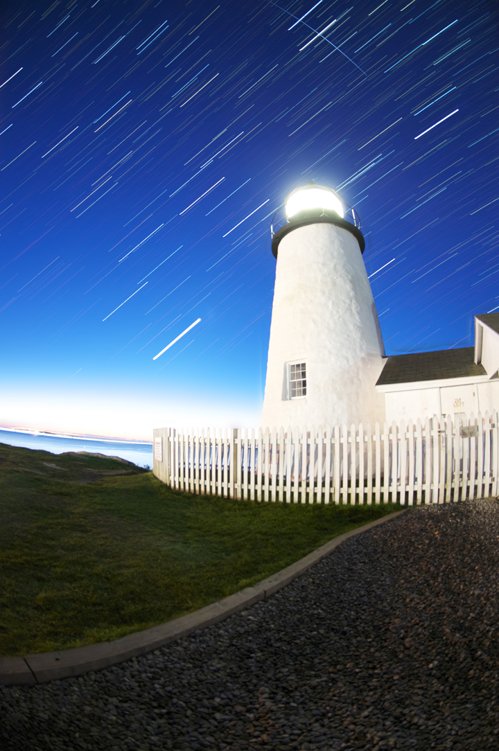 Pemaquid Light startrails and satellite Tiangong