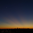Moon, Venus and Crespuscular Rays
