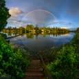 Arching Rainbow and Reflection
