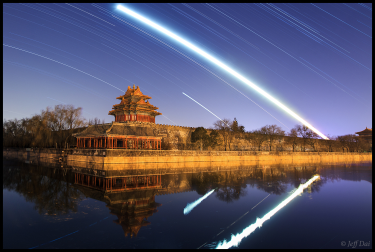 Moon, Planets and stars trail above Forbidden City (2)