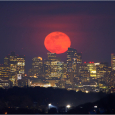 April's Pink Moon Rising Over Boston