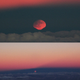 Rising Harvest Moon and Penumbral Lunar Eclipse