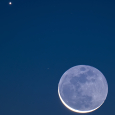 Earthshine, Crescent Moon and Mercury