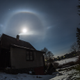 Lunar Halo Over Ústupky, Czech Republic