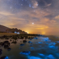 Bioluminescent Phytoplankton in the Persian Gulf and Orion Overhead