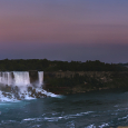 Golden Moon and Pink Sky above Niagara Falls
