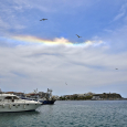 Circumhorizon Arc Over Port of Tinos Island, Greece