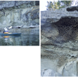 Sandstone Cliff Erosion on De Courcy Island, British Columbia