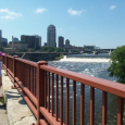 Stone Arch Bridge and St Anthony's Falls on the Mississippi River