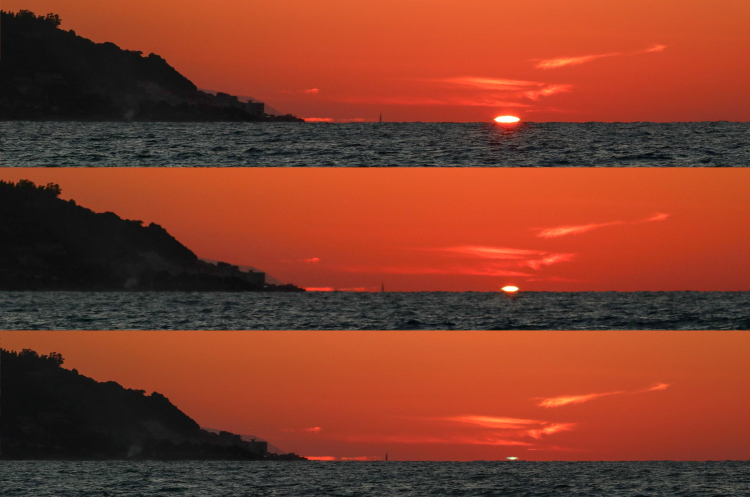 Sequence green flash at Messina