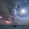 Approach of Storm and Lunar Halo