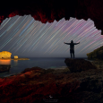 Star Trails Viewed from Inside a Cave