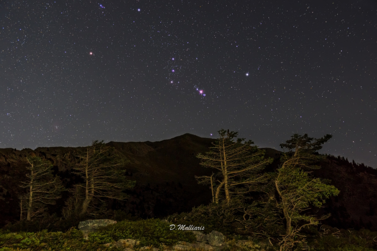 Orion the Hunter and Mount Dirfis  Greece